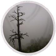 Misty Tree Round Beach Towel