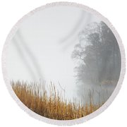 Misty Trees And Reeds Round Beach Towel