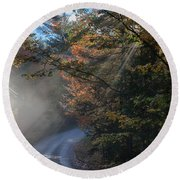 Misty Turn In The Road Round Beach Towel