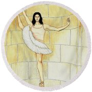 Misty Vi - La Ballet Statuette Round Beach Towel