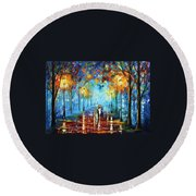 Misty Vibrations Round Beach Towel