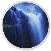 Misty Waterfall Round Beach Towel