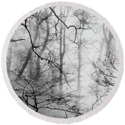 Misty Woods, Whitley Mill Round Beach Towel