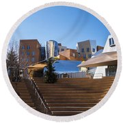 Mit Stata Center Cambridge Ma Kendall Square M.i.t. Staircase Round Beach Towel