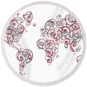 Mit University Colors Swirl Map Of The World Atlas Round Beach Towel
