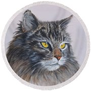 Mitze Maine Coon Cat Round Beach Towel