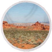 Mix Media Valley Of Fire  Round Beach Towel