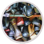 Mix Of Shoes Nyc Round Beach Towel