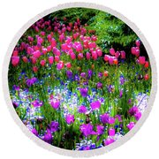 Mixed Flowers And Tulips Round Beach Towel