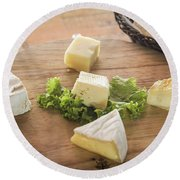 Mixed French Cheese Platter With Bread Round Beach Towel