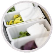 Mixed Fresh Herbs In Kitchen Interior Round Beach Towel