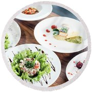 Mixed Modern Gourmet Fusion Food Dishes On Table Round Beach Towel