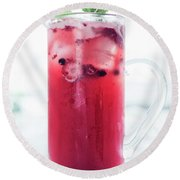 Mixed Red Berries And Wine Sangria Cocktail Jug Round Beach Towel