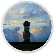 Moai Easter Island Rapa Nui Round Beach Towel