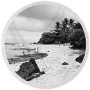 Moalboal Cebu White Sand Beach In Black And White Round Beach Towel