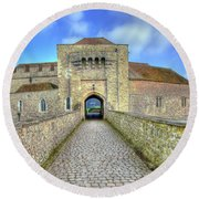 Moat House Leeds Castle Round Beach Towel by Chris Thaxter