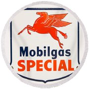 Mobil Gas Vintage Sign Round Beach Towel