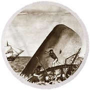 Moby Dick Both Jaws, Like Enormous Shears Bit The Craft Complete In Half Round Beach Towel