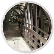 Mocha Colored Walking Bridge In American Fork Canyon Utah Round Beach Towel
