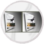 Mockingbird - Gently Cross Your Eyes And Focus On The Middle Image Round Beach Towel