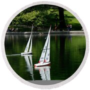 Model Boats Central Park New York Round Beach Towel