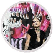 Model Day Of The Dead  Round Beach Towel