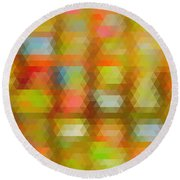 Modern Abstract Mosaic Color Combination 4 Round Beach Towel