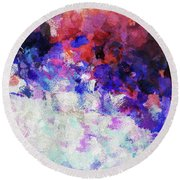 Modern Abstract Painting In Blue Round Beach Towel