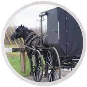 Modern Amish Horse And Buggy Round Beach Towel