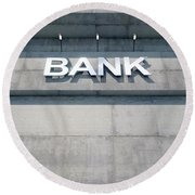 Modern Bank Building Signage Round Beach Towel