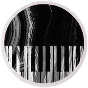 Modern Black And White Piano - Sharon Cummings Round Beach Towel by Sharon Cummings