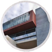 Modern Building Architecture Angles Round Beach Towel