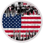 Modern City Scape American Flag Round Beach Towel
