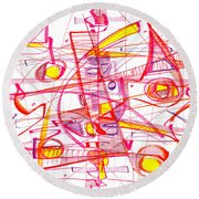 Modern Drawing Eighty-three Round Beach Towel