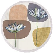 Modern Fall Floral 1- Art By Linda Woods Round Beach Towel