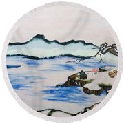 Modern Japanese Art In The Shadow Of The Past - Utsumi And Kano School Round Beach Towel