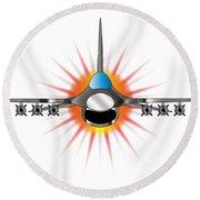 Modern Jet Fighter Round Beach Towel