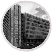 Modern Lisbon - The Palace Of Justice Round Beach Towel