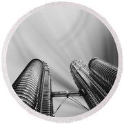Modern Skyscraper Black And White  Round Beach Towel by Stefano Senise