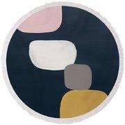 Modern Stones Navy 1- Art By Linda Woods Round Beach Towel by Linda Woods