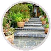 Modern Suburban House With Succulent Garden Hayward California 34 Round Beach Towel
