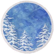 Modern Watercolor Winter Abstract - Snowy Trees Round Beach Towel