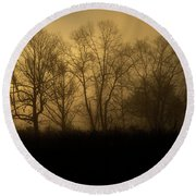 Morning Fog, #2, Smoky Mountains, Tennessee Round Beach Towel