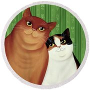 Moggies Round Beach Towel by Magdolna Ban