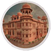 Mohatta Palace At Sunset Round Beach Towel