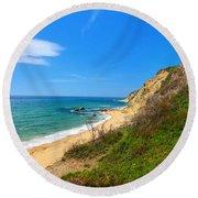 Mohegan Bluffs Block Island Round Beach Towel