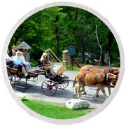 Mohonk Carriage Tour Round Beach Towel