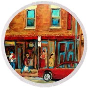 Moishes Steakhouse On The Main By Montreal Streetscene Painter Carole  Spandau  Round Beach Towel