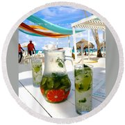Mojitos On The Beach- Punta Cana Round Beach Towel