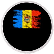 Moldova Gift Country Flag Patriotic Travel Shirt Europe Light Round Beach Towel
